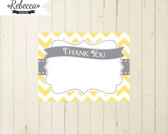 thank you card yellow and gray thank you card printable gray thank you card birthday thank