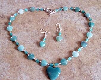Aventurine Gemstone Heart Necklace