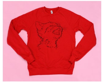Kitty Cat Red Screenprinted Sweatshirt