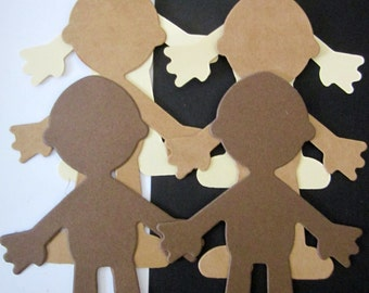 DIY 4 cardstock sizzix die cut Doll/People/GIRL or BOY-hair/ clothes