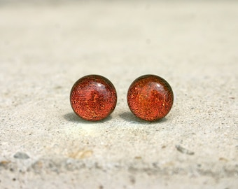 Copper red glass stud earrings, sparkling dichroic glass, glass earring studs, fused glass earrings, tiny studs