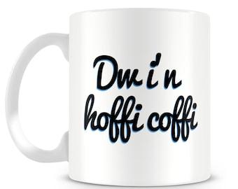 Dw i'n hoffi coffi mug. Welsh language. Wales