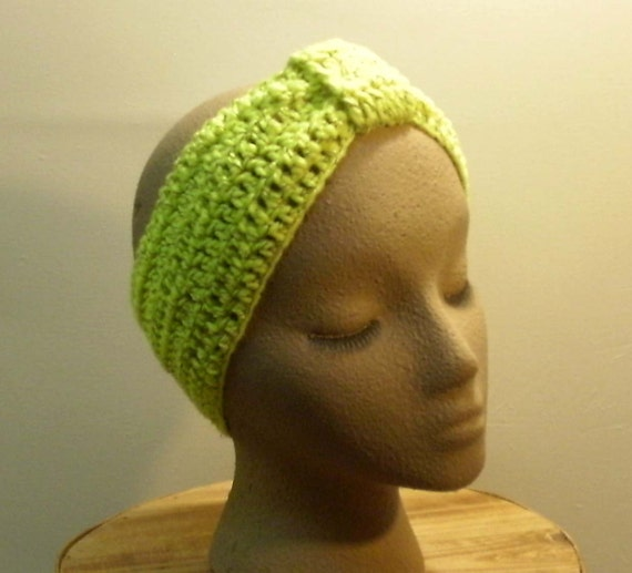 Crochet Hair Wrap : Crochet Yellow Vintage Flapper Style hair wrap headband. Slip on Bow ...