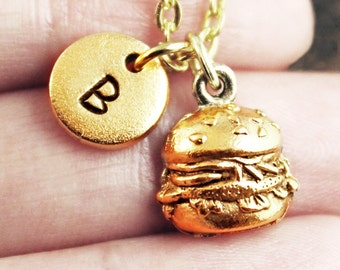 Burger Necklace, Custom Initial Necklace, Personalized Necklace, Cheeseburger Necklace, Hamburger Necklace, Monogram Necklace, Gold Necklace