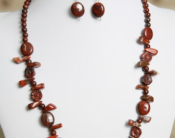Brecciated Jasper Gemstone Necklace and  Earrings - Bead Jewelry Set - Gemstone Beads - Mother of Pearl