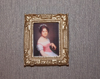 DOLLHOUSE MINIATURE Painting # 86, Young Girl On Chair 1:12 Scale