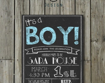 Chalkboard Baby Boy shower invitation card 5X7, 4X6, Digital file printable personalized