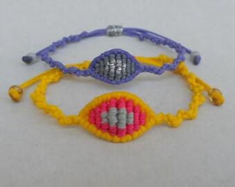 Tiny evil eye macrame bracelets,Mal de ojo,Nazar,Greek mati,Adjustable,All seeing devil protection,Ethnic handmade jewelry,Waxed bracelet