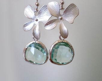 Erinite Earrings. Orchid Earrings. Green Water Dangles. Aqua Chandeliers. Orchid Dangles. Orchids Chandeliers Bridal, Bridesmaids Gifts.