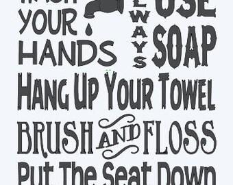 Bathroom Rules Wall Art primitive stencil porch rules 2 large 12x24