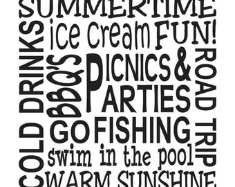 """Primitive Summer STENCIL**Summertime Fun!** 12""""x12"""" or 12""""x18"""" for Painting Signs, Airbrush, Crafts, Wall Art and Decor"""
