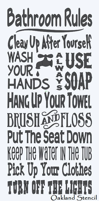 Primitive stencil bathroom rules large 12x24 for Bathroom quote ideas