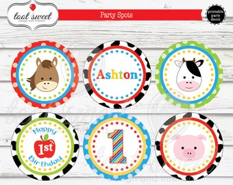 Printable Farm/ Barnyard Birthday Party Spots - Cupcake Toppers, Cow, Pig, Horse, Apple