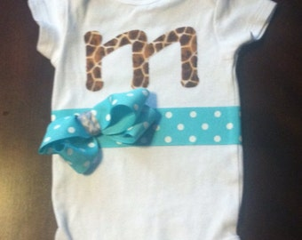 Customized monogrammed baby girl outfit with bow!