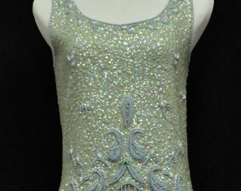 Luxurious Pale Blue Hand Sequined and Beaded Sleeveless Wool Top  Size M