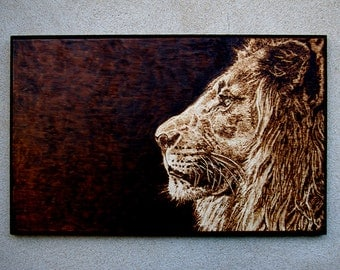 Realistic Lion pyrography art