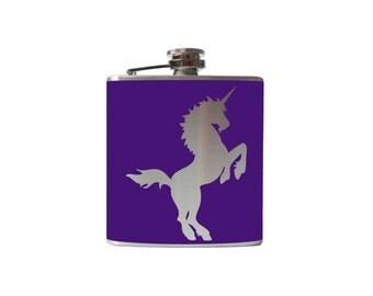 Unicorn Flask- Personalized, CUSTOM COLOR, SIZE - Waterproof Vinyl, Freezer Safe