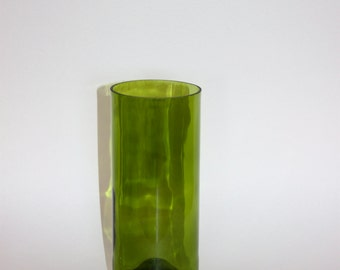 Glass Vase. Upcycled green wine bottle.