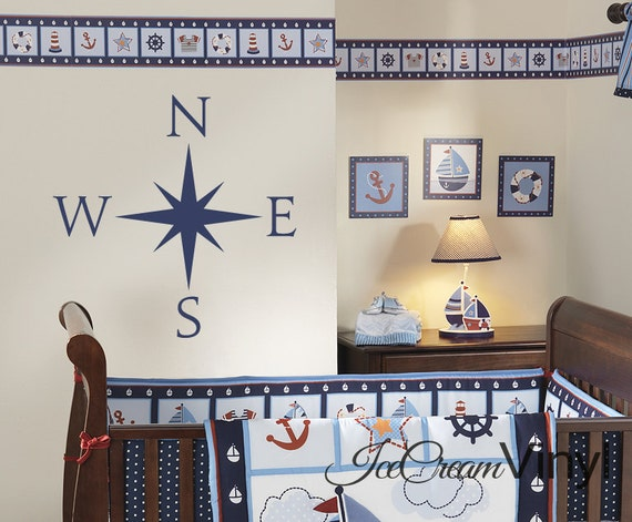 Nautical Compass Wall Decal for Nursery Boys or Girls Room Sailboat Playroom Vinyl Childrens Decor