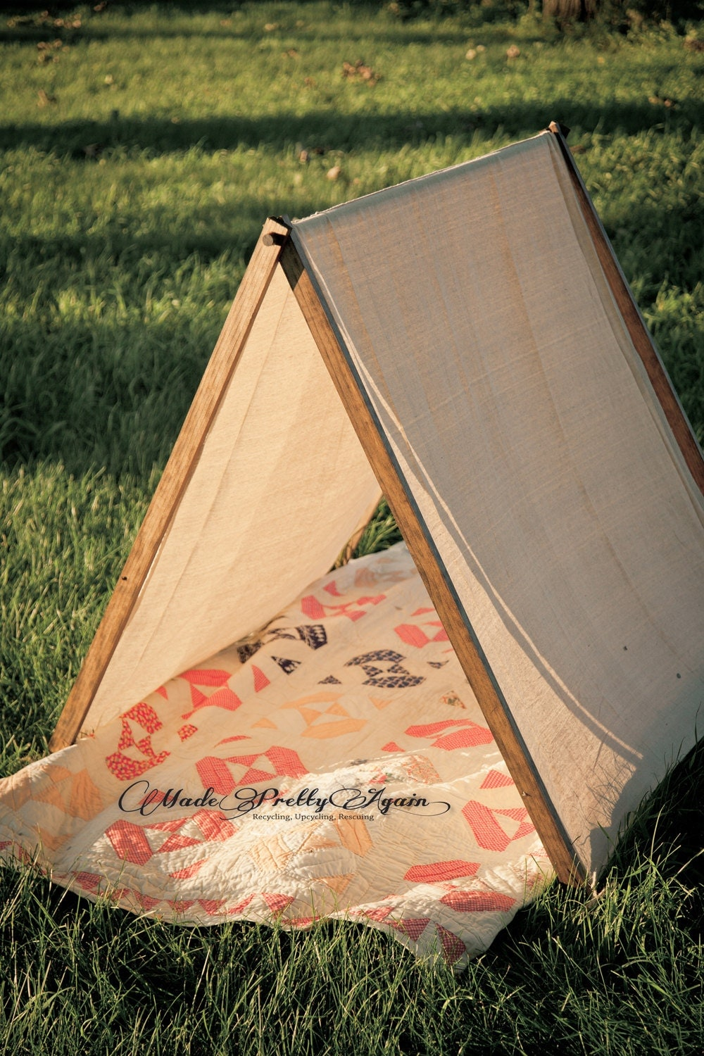 Large a frame canvas tent for children by madeprettyagain for How to build a canvas tent frame