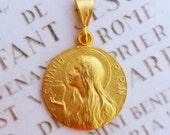 Medal - Saint Mary Magdalene 18K Gold Vermeil Medal - 25mm