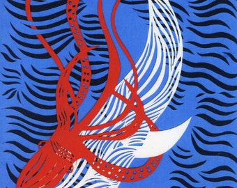 The Squid and The Whale - fine art print of hand made paper cut