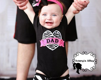 Zebra heart with Dad - Girls Applique Black Shirt or Bodysuit and Matching Hair Bow Set