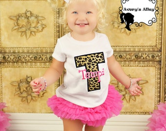 Leopard Initial with Hot Pink Name - Girls Applique Shirt or Bodysuit & Matching Hair Bow Set