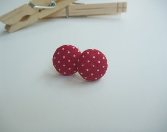 Red Polka Dot Fabric Button Post Earring.