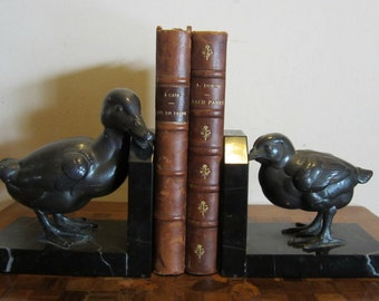 ANTIQUE French ART DECO book ends bookends duck and chick, rare pair!! ca 1920