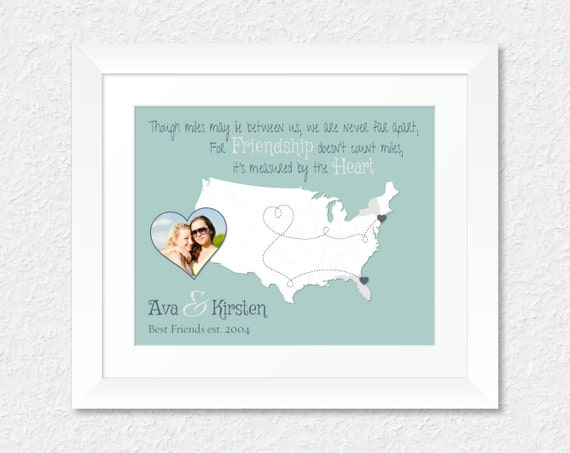 Gift  Moving Away Gift  Popular Long Distance Gift  Friendship Quote