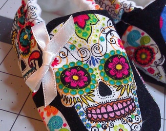 Sugar Skulls Baby Shoes,Skull Baby Shoes,Day of The Dead,Rockabilly,Dia De Los Muertos,Soft Sole Baby Girl