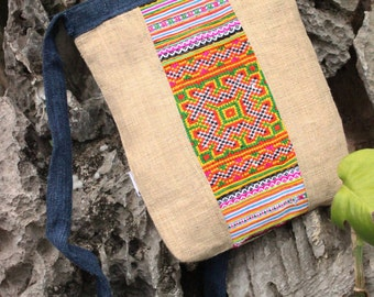 Handmade Natural Hemp Embroidered Shoulder Sling Bag Vintage Hmong