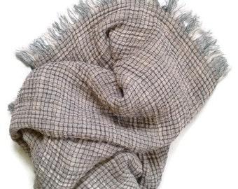 Grey blanket - Tartan blanket - Throw blanket - Bedspread - Picnic blanket - Beach blanket - Blankets and Throws - LINEN - Ready to ship