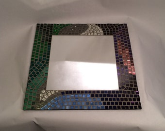 "Mosaic Mirror, ""Emerald Brick Road"" unique colors provide a different look at each angle!"