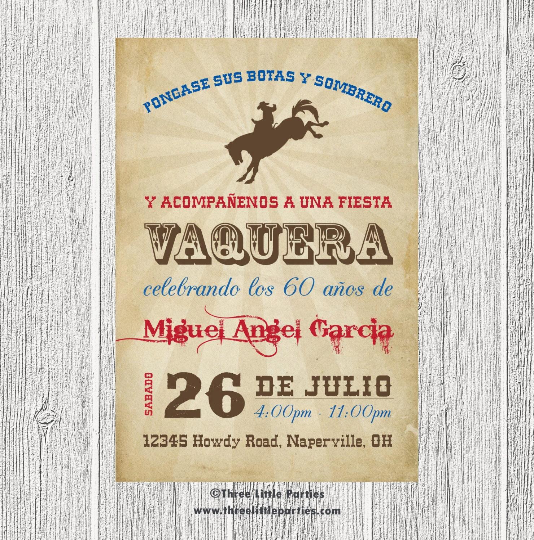 Spanish Cowboy Invitation Fiesta Vaquera Invitacion En