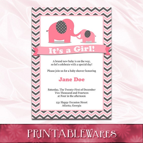 pink elephant baby shower invitation template pink and gray, Baby shower invitations