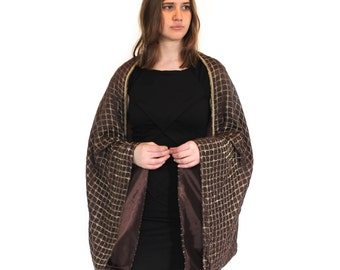 One-of-a-kind brown silk and metallic thread kimono sleeved cape