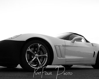 Digital Photo Download, Black and White Auto Photograph, Automobile photo, Corvette Photograph, Outdoor Photograph, Home Decor, Car Art