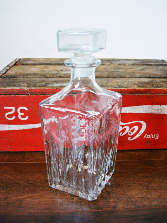 Ribbed Glass Liquor Decanter from the 1970's- Bar Accessories- Vintage Bar Decor