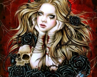 Mad Queen Alice - Fantasy Gothic Art- Print 6x8