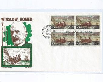 """Winslow Homer """"Breezing Up""""  Cachet Craft Ken Boll First Day Cover Gloucester MASS 1962"""