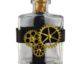 Glass Potion Bottle with Steampunk Gear Holder - Steampunk Flask #DK1030