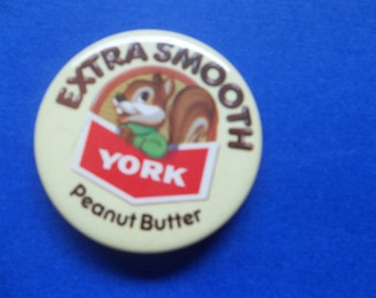 York Peanut Butter Vintage Pin Back Squirrel Mascot