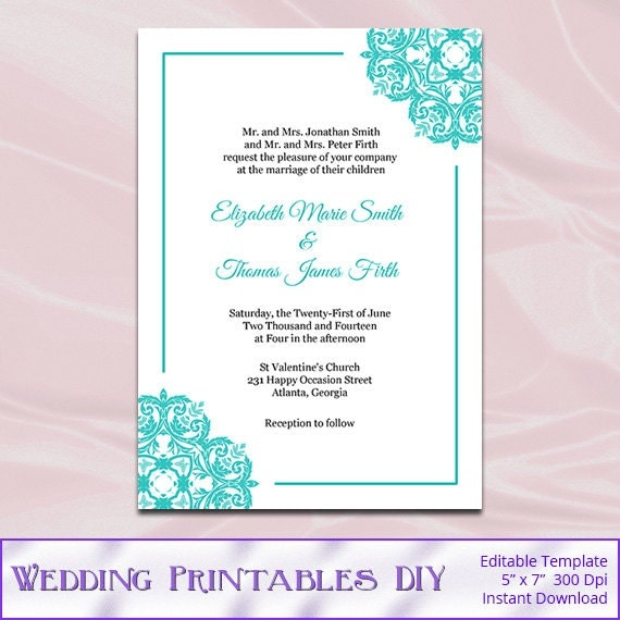 Elegant Items Similar To Turquoise Wedding Invitations Template, Diy Elegant Bridal  Shower Party Invites, Printable Cards Editable Text Instant Download Pdf  Word ...