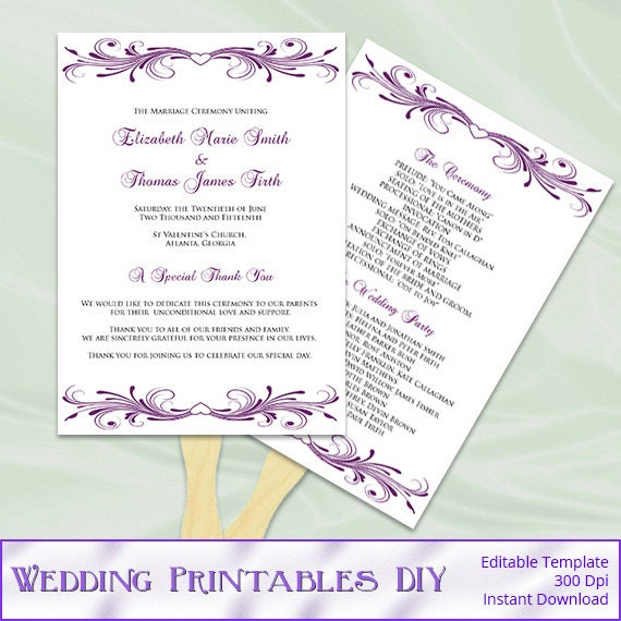 Plum Wedding Fan Program Template, Diy Printable Purple Heart Ceremony ...
