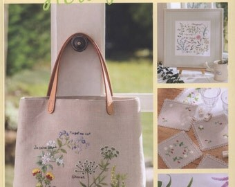 Japanese embroidery book - embroidery pattern - botanical - flower embroidery - ebook - PDF - instant download