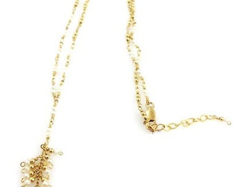 Cluster CZ & Fresh Water Pearls Necklace in 14k Gold Fill - 514 SM