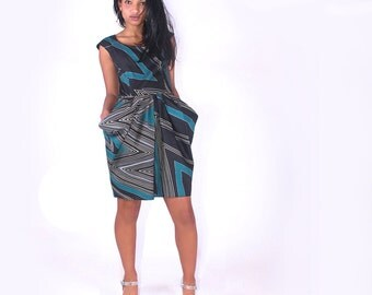 Abstract Thunder Stripe Print Structured Pleat Dress