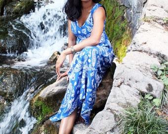 Blue & White Paisley Floral Print Maxi Dress